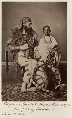 Captain Speedy and Prince Alamayou from Ethiopia. He was born a prince with a bl. History Of Ethiopia, Ancient Egypt History, Black Royalty, African Royalty, Black History Facts, Strange History, The Royal Collection, African Tribes, Native American History