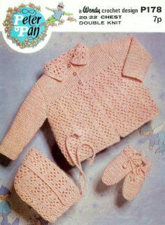PDF DK Jacket and Bonnet  20-22ins - Peter Pan 178 -  Vintage Crochet Baby Pattern