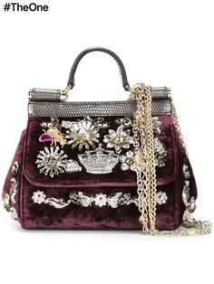 d8598de8c8 Burgundy velvet and iguana leather mini  Sicily  tote from Dolce  amp   Gabbana featuring