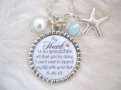 Inspirational Quote Necklace or Keychain in white and blue. Includes a starfish charm and pearl color of choice and crystal. (Will be as shown