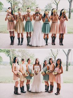 Love the boots and mismatched dresses