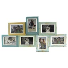 7 window multi coloured combined rustic photo frames made from wood with glass photo panels with antique style multi colour paint finish. Complete with hooks and ready to hang.