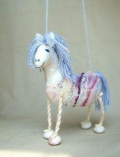 Violet  Felt Horse Art Marionette Handmade Puppet by TwoSadDonkeys, $56.00