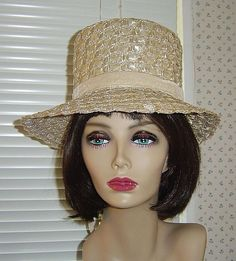 Vintage Beige Straw Hat by Evelyn Varon