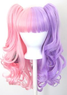 20 Gothic Lolita Wig 2 Pig Tails Set Pink Purple Half Split Cosplay New Kawaii Hairstyles, Cute Hairstyles, Visual Kei, Kawaii Wigs, Lolita Hair, Belle Cosplay, Dying Your Hair, Anime Wigs, Pink Cotton Candy