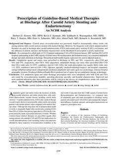 Prescription of Guideline-Based Medical Therapies at Discharge After Carotid Artery Stenting and Endarterectomy   Stroke