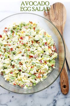 Avocado Egg Salad Recipe - Mayo-free, chunky and delicious egg salad with avocados, crunchy bacon, green onions, dill, lime juice and yogurt. Get the recipe on diethood.com