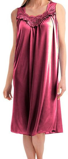 d04c7dbf8d7 EZI Women s Satin Silk Sleeveless Lingerie Nightgown at Amazon Women s  Clothing store  Plus Size Sleepwear