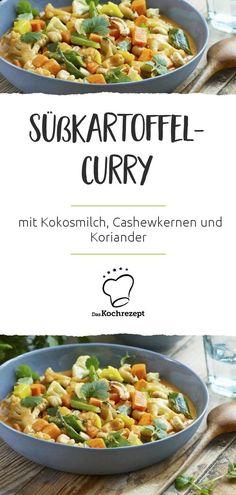 Mal wieder Lust auf asiatische Küche? Dann probiere dieses Süßkartoffel-Curry-Rezept!Das Gericht verfeinerst du mit Kokosmilch, Cashewkernen und Koriander –absolut himmlisch! #daskochrezept #asiatisch #asia #asiatischekueche #curry #suesskartoffel #sweetpotato #kokosmilch #cashewmilch #koriander Cheese Stuffed Chicken, Light Recipes, Vegetarian Recipes, Food And Drink, Meals, Vegan, Vegetables, Aktiv, Fitness