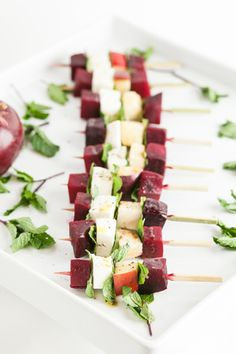 Winter Caprese skewers with apples, red beets, and mint, from Fig Catering in Chicago, offer a fresh way to present the root veggie.