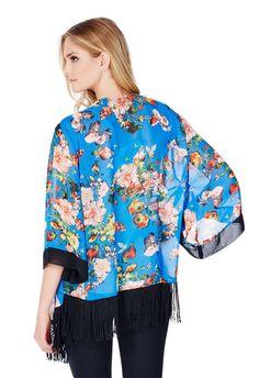 Floral Fringe Kimono - JustFab