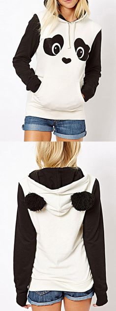 Only $22.99 with Free shipping+easy return!Panda ear-shaped hat coupled with the chest panda printing wool sleeve long-sleeved hoodie for women.I wear will not be as cute as the panda?