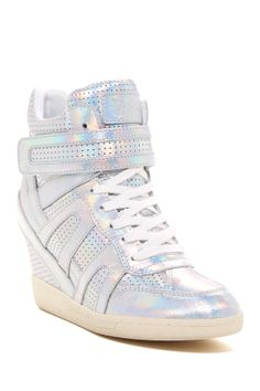 Beck Hidden Wedge High Top Sneaker- if probably wear this because it's white and has rainbows:))