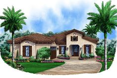 This lovely Spanish style home with Mediterranean influences (House Plan has 2583 square feet of living space. The 1 story floor plan includes 3 bedrooms. Mediterranean House Plans, Mediterranean Decor, Narrow Lot House Plans, House Floor Plans, Bungalows, Coastal House Plans, Stucco Exterior, Exterior Design, Exterior Homes
