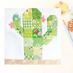Scrappy Desert Cactus Quilt Block Pattern | Craftsy