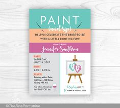Wine and Painting Party Digital Invitations. Perfect for a Bachelorette Party! This listing is for printable files. The files will be sent to your email address and you can print yourself after I have personalized them for you. Please read below for more details: Please provide the