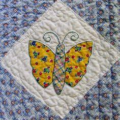 Closeup  of a butterfly quilt block