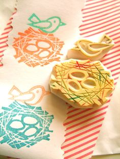 BIRD NEST rubber stamp - we could carve our own stamps. Foam from meat or produce, erasers, etc.