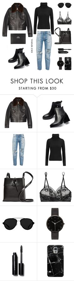 """""""Edgy Minimal"""" by fashionlandscape ❤ liked on Polyvore featuring David Jones, JY Shoes, Levi's, N.Peal, Kara, Hanky Panky, 3.1 Phillip Lim, I Love Ugly, Bobbi Brown Cosmetics and Casetify"""