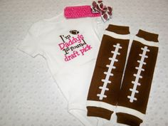 Baby Girl Football Onesie Leg Warmers and Bow by grinsandgigglesbaby1, $30.00