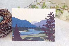 Montana Mountains with River // A2 Folded Wedding Thank You Card with Envelope…