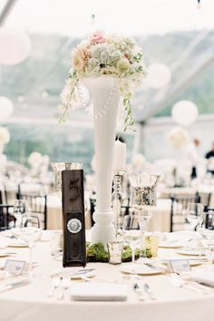 Love this tall vase with minimal floral Magical Wedding, Our Wedding, Dream Wedding, Wedding Stuff, Wedding Venue Decorations, Wedding Venues, Table Decorations, Wedding Table Settings, Wedding Tables