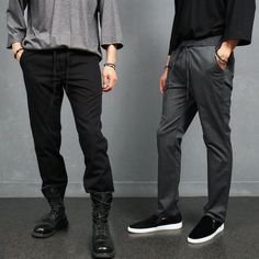 Standard Fit Elastic Waist Strap Slacks Sweatpants 4111