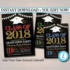Any Year Editable Graduation Invitation Custom School Colors Printable Digital College Grad Invite, Guy, Man Senior Grad Party Announcement College Graduation Parties, Grad Parties, Graduation Invitations, Party Invitations, Invites, Invitation Text, Invitation Ideas, Graduation Decorations, Graduation Ideas
