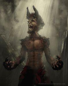 Rage by TheOnlyOneOneOne demon devil satyr vampire horns claws talons werebat monster beast creature animal Forest Creatures, Fantasy Creatures, Mythical Creatures, Sci Fi Fantasy, Dark Fantasy, Monster Board, Define Art, Beast Creature, Graphic Novel Art