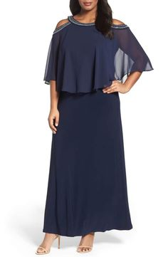 dbf439bf410 Alex Evenings Embellished Cold Shoulder Popover Gown (Plus Size)