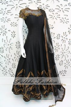 PalkhiFashion Exclusive Full Flair Black Outfit with Hand work around torso and sleeves