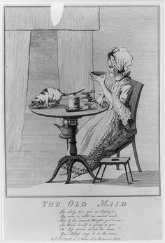 The Old Maid. English Cartoon 1777.  Library of Congress Prints and Photographs Division Washington, D.C.   Reproduction Number: LC-USZ62-47556