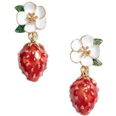 Women's Kate Spade Picnic Perfect Strawberry Drop Earrings (6080 ALL) ❤ liked on Polyvore featuring jewelry, earrings, red multi, fancy earrings, floral crowns, earring jewelry, red earrings and kate spade jewelry