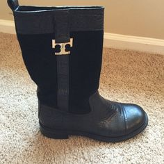Tory burch boots Bought from another posher. Excellent condition. Comes with box. Tory Burch Shoes Combat & Moto Boots