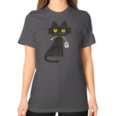Hungry Hungry Cat Unisex T-Shirt (on woman)