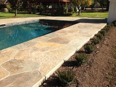 flagstone pool coping | multiblend flagstone_pool coping Pools For Small Yards, Pool Coping, Flagstone, Pool Designs, Backyard Ideas, My House, Deck, Gardens, Outdoors