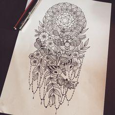"""Ostentatious. #tattoo #tattoos #tattooart #ink #inkstagram #art #sketch #drawing #dotwork #stippling #blackwork #design #dark #darkart #magick #moths…"""