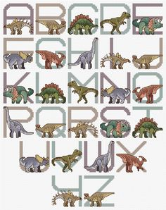 Cross stitch chart for a dinosaur alphabet, designed by Claire Crompton