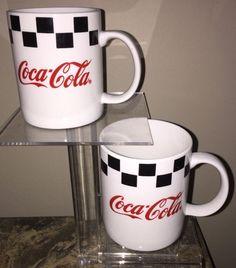 TWO 1996 Gibson Coca-Cola Coffee | Tea Mugs Black White Checker HTF Collectible #CocaCola