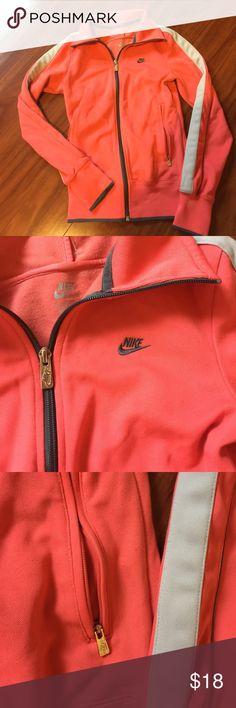 Nike zip up Peachy pink or dark gray and light gray piping 2 zipper pockets Nike Tops Sweatshirts & Hoodies