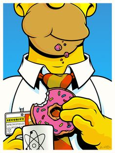 Homer Simpson Fictional Food Art Show by Joshua Budich | style inspiration cool art vector | Create yours interactics comics, Next-Gen | sign up www.draemdy.com