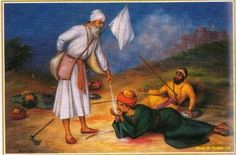 During his visit to Anandpur, the city was under attack by an alliance of Rajputs and Moghuls. Kalgidhar Pathshah Ji asked Bhai Ji to do water seva...