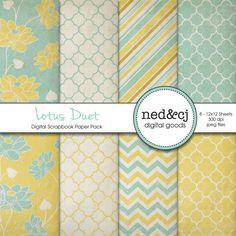 Lotus Duet (Digital Scrapbook Paper Pack) by ned&cj digital goods, via Etsy.
