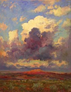"""Robert Andriulli, Southwest Sky Mountain, 2012  Oil on paper, 28x22"""",  Private Collection"""