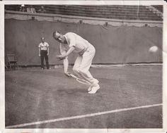 Bill Tilden hits forehand in victory over James Burns Sr 2nd Round of American Professional Tennis Championships Jul 8 1931 Forest Hills Tennis Stadium AP News by Rego-Forest Preservation Council, via Flickr