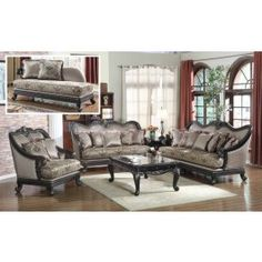 Bring home 618 living room set with black finish solid wood trim and unique traditional style. Hand carved details and crowned backs in a wood frame gives this furniture an elegant touch. Large comfortable seats with pillows wrapped in high quality tapestry fabric. Besides standard pieces this collection includes chase lounge and black marble tops coffee and end table.