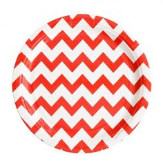 Red Chevron Plates By My Little Day