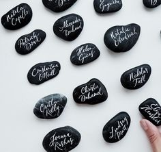 Lamplighter London - Modern Calligraphy - Hand lettered pebbles - Wedding placement