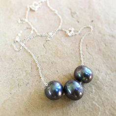 Pearls -- 3 luscious peacock pearls on a dainty silver chain! Happy Saturday everyone  #peacock SOLD