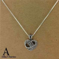 Marcasite Heart Love 925 Sterling Silver Colour CZ stones Necklace Pendant Charm